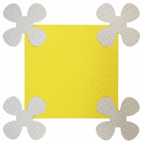 Детский мягкий пол Ромашки 33х33 желтый 18 мм